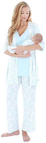 UPC 813499023333, Everly Grey Women's Maternity Roxanne 5-Piece Nursing Pajama Set with Robe and Tank, Chantilly, Small