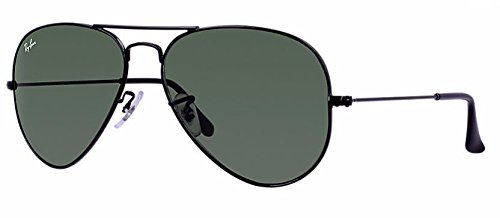 Ray Ban RB3025 L2823 58M Black/ Gray Green - Case Rayban Aviator