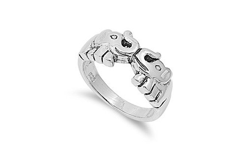 Sterling Silver Woman's Elephant Lucky Ring Beautiful 925 Band 9mm Size 9