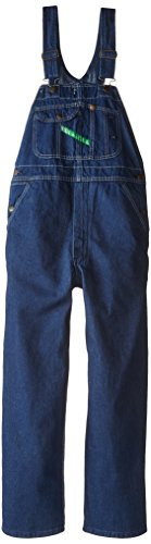 - Key Apparel  Men's Garment Washed Zip Fly High Back Bib Overall - 42W x 29L - Indigo Blue