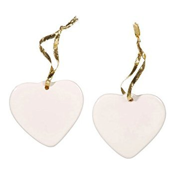 Darice DIY Crafts Porcelain Ornament Heart 3-1/2 inches  x 6 Pieces 6651-35
