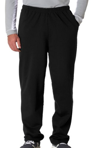 Jerzees Dri-Power Poly Pocketed Open-Bottom Sweatpants, Large - Black