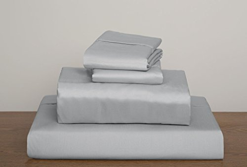11 Inch 100 Sheets (800 Thread Count Solid Pattern 10-12 Inches Deep Pocket 100% Egyptian Cotton 4 Piece Sheet Set QUEEN Size Light Grey Color)