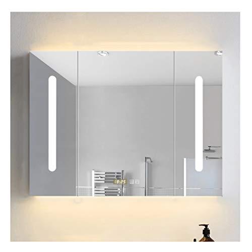 XCJ Bathroom Cabinet Mirror Cabinet Illuminated Mirror Wall, Bathroom Cabinet Ambient Lighting -