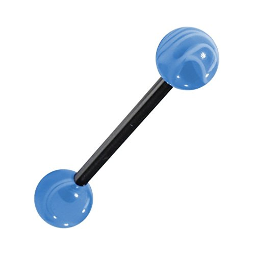 Light Blue Barbell Tongue Ring (Transparent Marbled Light Blue Acrylic Tongue Bar Ring - 1.6x19(3/4