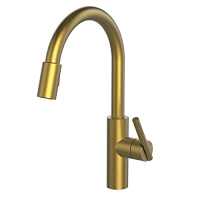Newport Brass 1500-5103/24S East Linear Kitchen Faucet with Metal Lever Handle and Pull-down Spray, Satin Gold