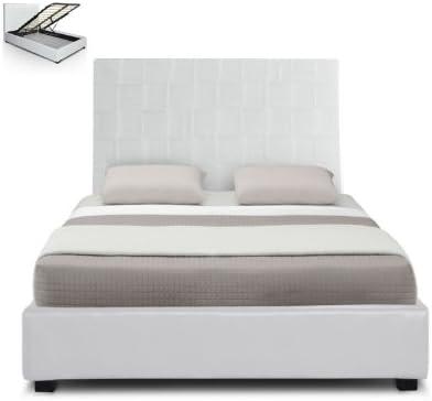 Lit Coffre Blanc Tete De Lit Et Sommier Relevable 160x200