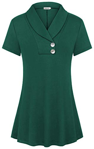 Ouncuty Women Tunic Tops for Leggings,Baggy Classy Sexy Crinkle Split V Neck Button Decor Turn Down Shirts Sporty Georgette Velvet Athleisure Roomy Relaxed Breathable Going Out Outwear Blouses Green M