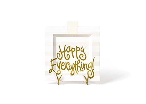 HAPPY EVERYTHING! White Stripe Big Square Platter