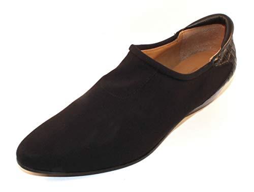 - Right Bank Shoe Co Women's Malva in Black Silk Elastic/Reptile Embossed Leather - Size 7 M