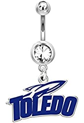 Toledo Rockets Belly Ring in Color Logo, Stainless Steel and Sterling Silver