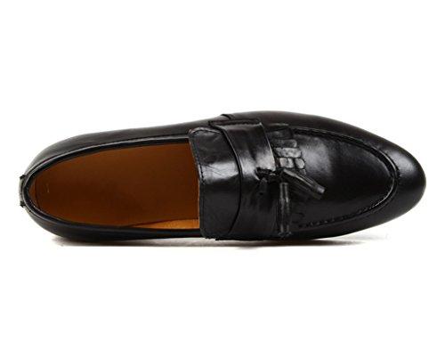 Clásicos de Retro Borla Tamaño UK8 Zapatos para Color Estilo Zapatos EU44 Piel Negro Hombre de Negocios 5 Marrón de Británico Cuero d5q8Cw8P