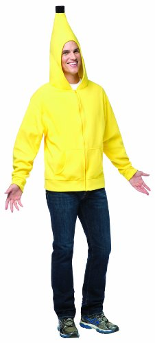 Mens Halloween Costumes Simple - Rasta Imposta Men's Banana Hoodie, Yellow/Black,