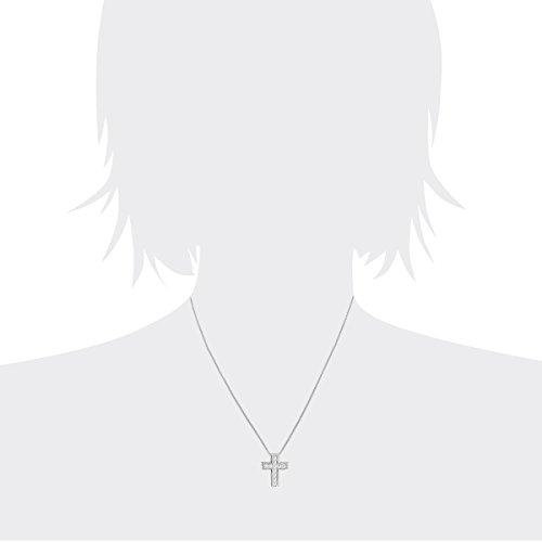 Diamond Line-Collier avec pendentif diamant solitaire forme de croix or blanc 585rhodié et diamant 0.25ct blanc brillant 45cm-121501