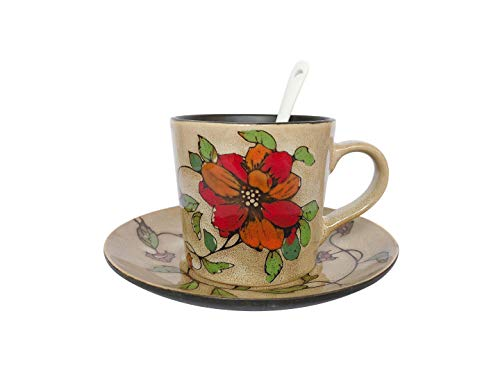 - Vintage Country Style Hand-painted Ceramic Coffee Cup Mug Set With Spoon and Saucer 6.8oz Natural Pattern For Daily Morning Coffee Birthday Christmas Housewarming Gift Home Decoration (Red Flower)