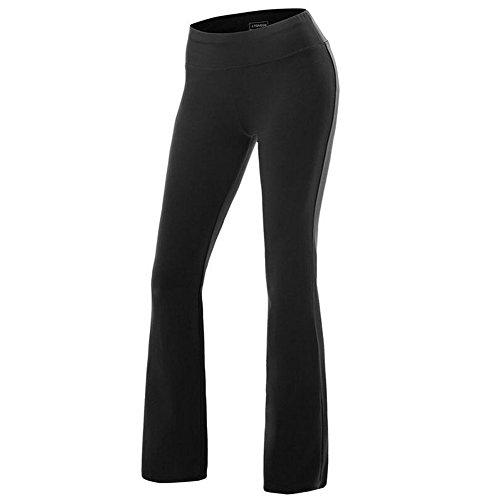 FITIBEST Women Bootcut Yoga Pants Stretchy Bootleg Pants High Waist Sports Trousers (M, (Black Bootleg)