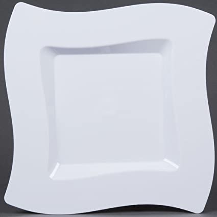 Amazon.com: Fineline Settings 10-Piece Wavetrends Square-Wave China ...