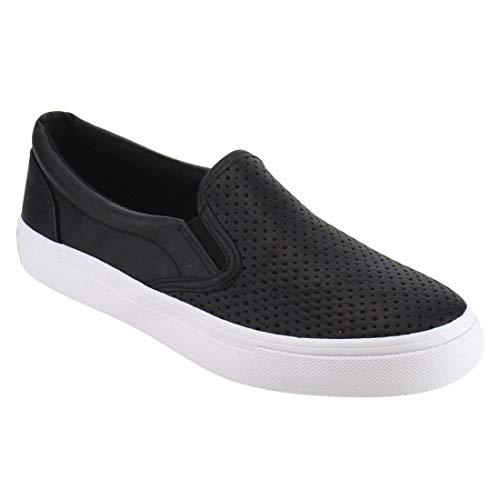 (SODA Women's Slip On Flat Shoes 5.5 Black Pu)