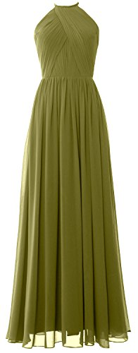 MACLoth Women Halter Long Bridesmaid Dress Chiffon Formal Gown with Open Back Verde Oliva