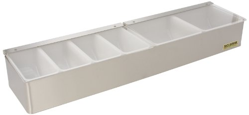 San Jamar B4246L Stainless Steel Non-Chilled Garnish Tray with Split Lid, 24