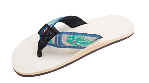 Rainbow Sandals Men's Hemp Single Layer Fish Strap with Arch, Natural/Light Green Fish/Cream, Men's X-Large / 11-12 D(M) US