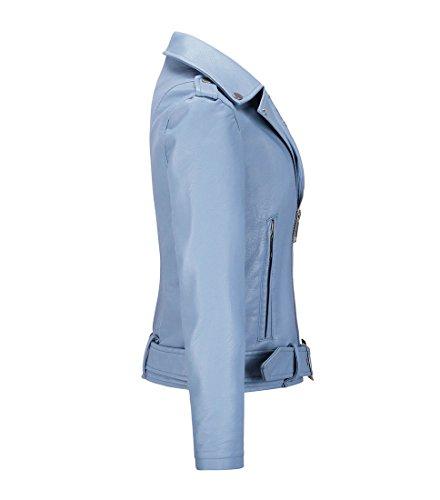 Motard de Automne Veste Femme Bleu en Printemps Imitation en Perfecto YoungSoul Similicuir Ceinture Cuir Blouson avec Court wxq51B