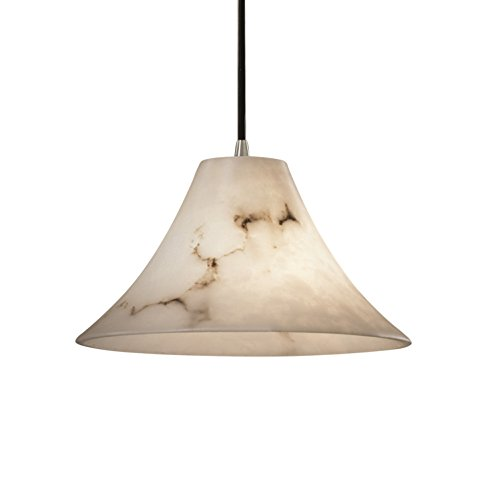 Justice Design Group LumenAria 1-Light Pendant - Brushed Nickel Finish with Faux Alabaster Resin Shade