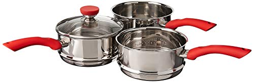 2 Pieces Stainless Steel Double Boiler Pot Baking Melting Pot for Butter and 2 Metal Spoon for Chocolate Candy Butter Cheese Caramel Candle Making Tools 480 ml and 600 ml Capacity
