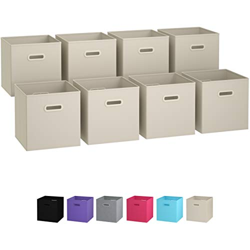 (Royexe Storage Bins - Set of 8 - Storage Cubes | Foldable Fabric Cube Baskets Features Dual Plastic Handles. Cube Storage Bins. Closet Shelf Organizer | Collapsible Nursery Drawer Organizers (Beige))