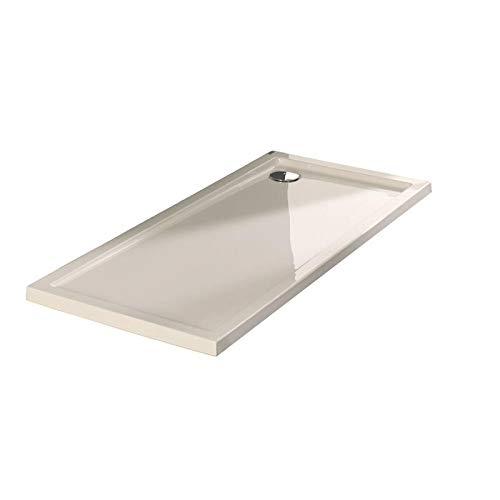 Plato ducha acr/ílico antideslizante liso modelo Nublo Bricodomo 70x120 Blanco con v/álvula incluida