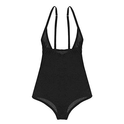 Agoky Women's Chest Support Mesh Sheer See Through Bodysuit Leotard Thongs Underwear Black One ()