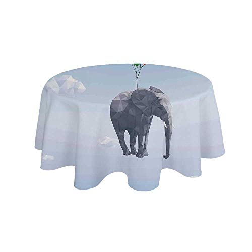 YOLIYANA Animal Waterproof Round Tablecloth,Elephant Attached to Colorful Baloons in Sky Geometric Paper Effect Polygonal Art for Living Room,62.9