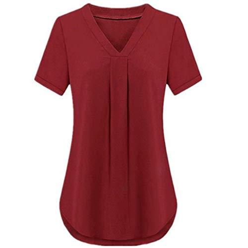 Aniywn Women Plus Size Chiffon Blouse V-Neck Solid Color Adjustable Sleeve T-Shirt ()