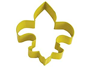 "R&M Fleur De Lis 4.5"" Cookie Cutter Yellow with Colored, Durable, Baked-on Polyresin Finish"
