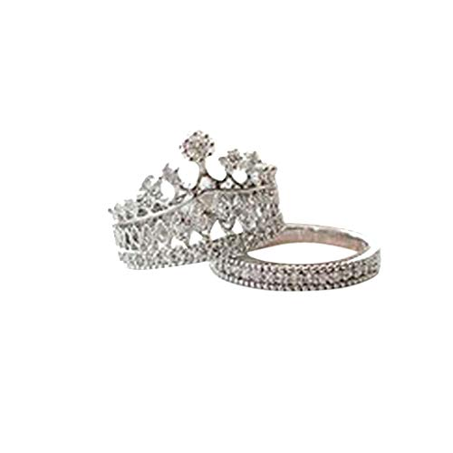 Women's Diamond Crystal Crown Modeling Ring,Simulated Rings Gift for Wmen Girl Teens Sterling Silver Crown Shape Bridal Wedding Band ()