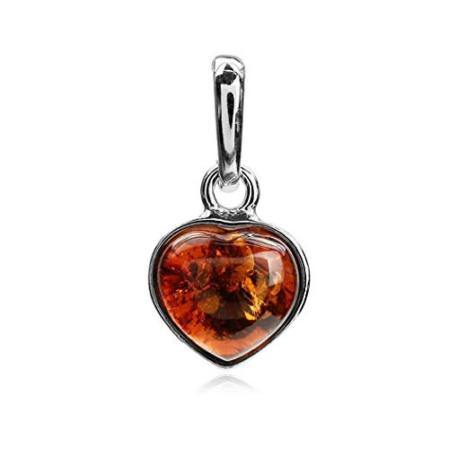 Ian and Valeri Co. Amber Sterling Silver Heart Pendant