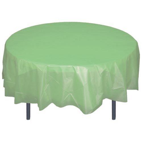 6-Pack Premium Plastic Tablecloth 84in. Round Plastic Table cover - -