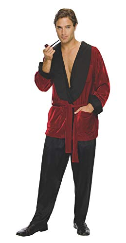 Secret Wishes Men's Playboy Hugh Hefner Smoking Jacket Costume, Burgundy, -