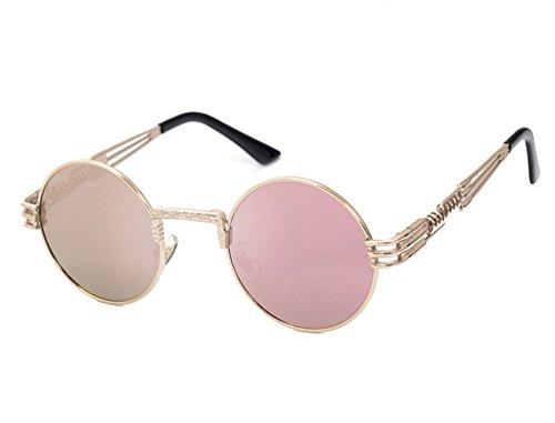 Gafas Oro retro redondo Rosa de Steampunk Rosa de de conducción marco gafas sol metal hippy grZgq