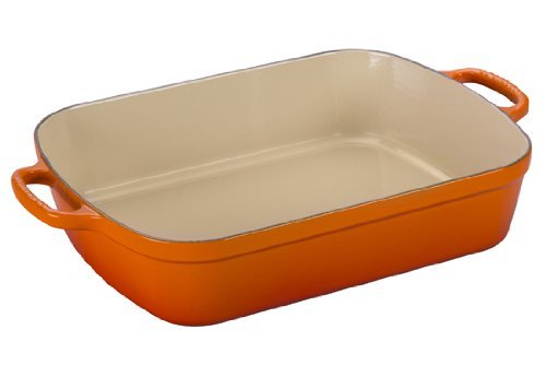 Le Creuset Signature Cast Iron Rectangular Roaster, 5.25-Quart, Flame ()