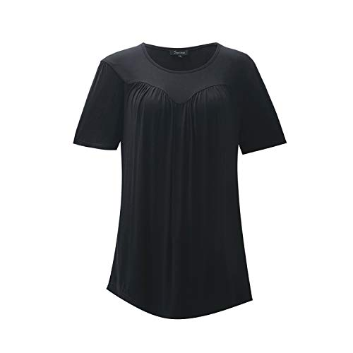 (SUWIINA Women Pleated Front Short Sleeve Blouse Round Neck Casual Flare Tunic Top Shirt Black)