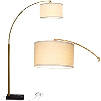 Rivet Modern Arc Floor Lamp With Bulb And Fabric Shade 69