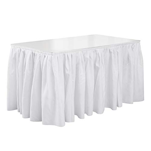 Deconovo Pleated 14ft White Table Skirt Oxford Decorative Spillproof Party Table Skirting for Wedding, Banquets and Restaurants
