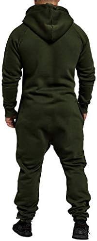 Mens Christmas Zip Through Hooded Bodysuit Jumpsuit Onesie All in One Loungewear Zipped Casual Soft Plain Piece Fleece Suit Pajamas Pjamas Menslounge