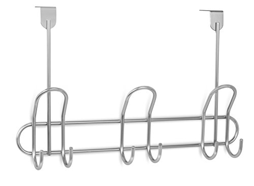 Internet's Best Over the Door Double Wire Hook Rack | 3 Hooks | Stainless Steel Coat and Hat Rack Hanger | Bathroom Towel Rail | Outdoor or Indoor