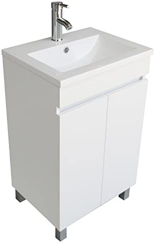 BATHJOY Modern White Single Wood Bathroom Vanity Cabinet with Undermount Vessel Sink Combo Faucet Drain US Review