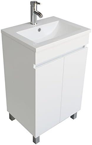 BATHJOY Modern White Single Wood Bathroom Vanity Cabinet