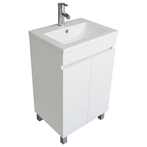 BATHJOY Modern White Single Wood Bathroom Vanity Cabinet with Undermount Vessel Sink Combo Faucet Drain - Modern Single Bathroom Vanity