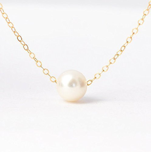 (Single Pearl Necklace, Yellow Gold Filled Chain)