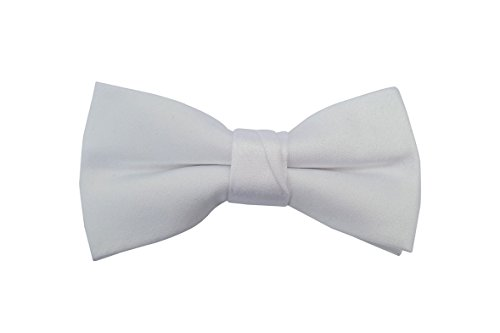 White Baby Toddler Ring Bearer Kids Bow Tie (small, white) by Born to Love